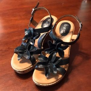 boc Cork Wedge Sandals Black Size 8